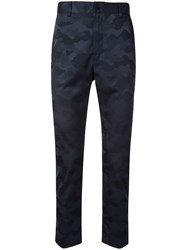 Loveless Camouflage Print Tailored Trousers Blue