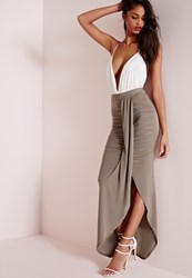 Missguided Gathered Slinky Maxi Skirt Taupe Grey