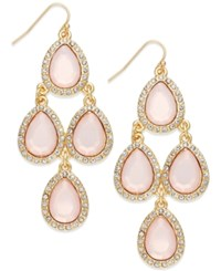 Inc International Concepts Gold Tone White Teardrop Chandelier Earrings Pink