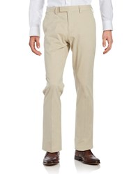 Black Brown Cotton Blend Flat Front Chinos Light Tan