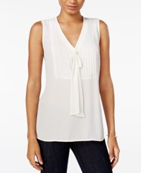 Maison Jules Pleated Tie Neck Blouse Only At Macy's Egret