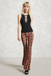 Forever 21 Paisley Print Flared Pants Black Coral