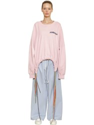 Ambush Oversized Multicord Cotton Sweatshirt Pink