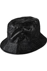 Valentino Embroidered Faux Leather Bucket Hat Black