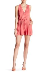 Lush Surplice Front Tie Romper Orange