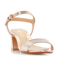Head Over Heels Mandi Low Block Tube Strappy Sandals Rose Gold