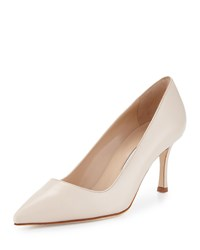Manolo Blahnik Bb 70Mm Calf Leather Pump Ivory Women's Size 37.0B 7.0B Baby Cristal 465T