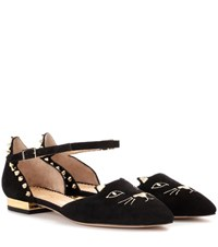 Charlotte Olympia Mid Century Kitty Studded Embroidered Suede Flats Black