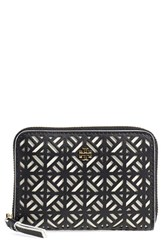 Women's Tory Burch 'Fret T' Perforated Coin Case Black