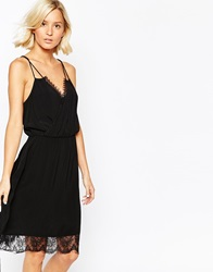 Selected Beauty Dress With Lace Trim Black