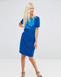 Y.A.S Blue Shift Dress With Woven Top Ta Brown