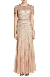 Women's Adrianna Papell Beaded Mesh Gown Champagne