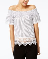 Almost Famous Crave Fame Juniors' Printed Lace Trim Off The Shoulder Top Black White Stripe