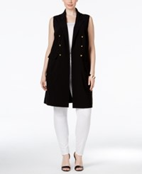 Inc International Concepts Plus Size Military Style Long Vest Only At Macy's Deep Black
