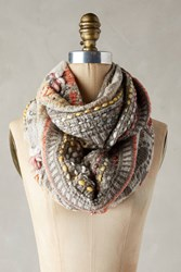 Anthropologie Alois Embroidered Infinity Scarf Grey