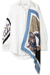 3.1 Phillip Lim Oversized Satin And Crepe Trimmed Printed Silk Twill Shirt Ivory