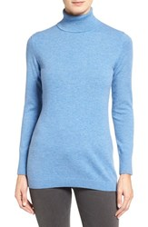 Nordstrom Women's Collection Long Cashmere Turtleneck Sweater Blue Bonnet Heather