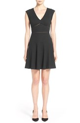Rebecca Taylor Women's 'Taylor' V Neck Fit And Flare Dress Black