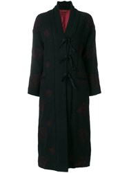 Romeo Gigli Vintage Contrasting Embroidery Coat Black