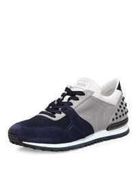 Tod's Colorblock Trainer Sneaker Navy Gray Navy Grey