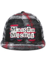Maison Michel Plaid Cap Grey