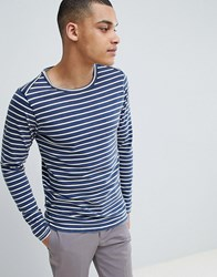 Selected Homme Long Sleeve Top With Stripe Estate Blue Egret