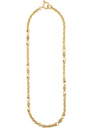 Chanel Vintage Filigree Egg Necklace Metallic