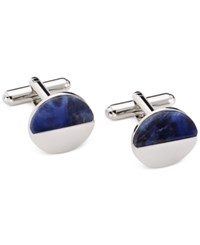 Geoffrey Beene Blue And White Circle Cufflinks Silver Blu