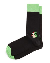 Jonathan Adler Santa's Little Squirrel Printed Socks Black
