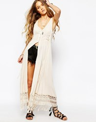Kiss The Sky Never Mind Maxi Tea Dress With Button Through Cream