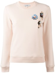 Carven Multi Patched Sweatshirt Nude Neutrals