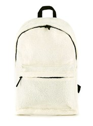 Topman White Cream Faux Shearling Backpack