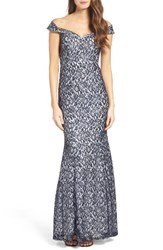 Sequin Hearts Women's Off The Shoulder Lace Mermaid Gown
