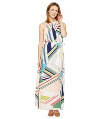 Adrianna Papell Printed Striped Maze Georgette Halter Maxi Dress Blue Green Multi Women's Dress