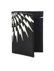 Neil Barrett Thunderbolt Calf Leather Tall Wallet Black White