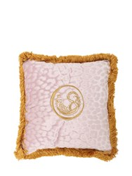 Roberto Cavalli Small Sigillo Velvet Accent Pillow Pink Gold