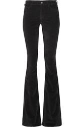 Mih Jeans Skinny Marrakesh Mid Rise Stretch Velvet Flared Pants Black