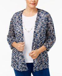 Alfred Dunner Plus Size Arizona Sky Collection Layered Look Cardigan Lapis