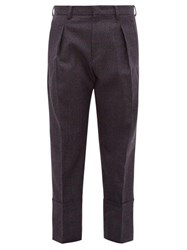 Wooyoungmi Prince Of Wales Check Banded Cuff Wool Trousers Dark Navy