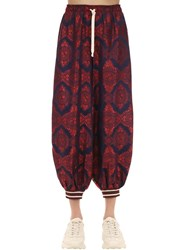 Gucci Silk Twill And Jacquard Joupe Track Pants Multicolor