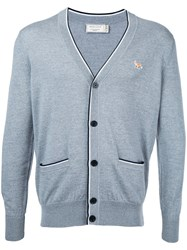 Maison Kitsune Fox Patch Cardigan Men Wool S Grey