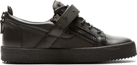 Giuseppe Zanotti Black Leather Zipper And Strap Sneakers