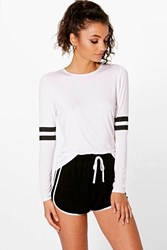 Boohoo Teighan Baseball Stripe Long Sleeve Tee White
