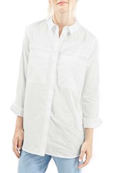 Topshop Oversize Button Front Shirt White
