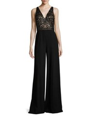 David Meister Embellished Wide Leg Jumpsuit Black