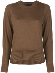 Proenza Schouler Merino Crewneck Top Brown