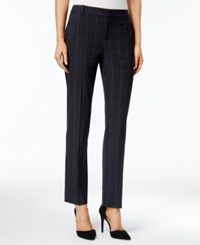 Charter Club Plaid Slim Ankle Pants Only At Macy's Deep Black Combo