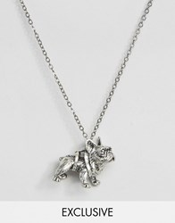 Reclaimed Vintage French Bulldog Necklace Silver