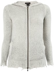 Avant Toi Distressed Knitted Jacket Grey