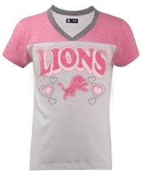 5Th And Ocean Girls' Detroit Lions Pink V Neck T Shirt